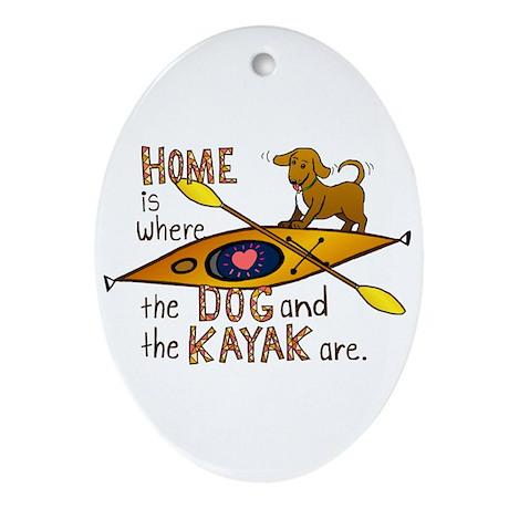 Dog and Kayak Ornament (Oval)
