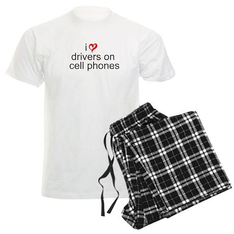 Drivers on Cell Phones Men's Light Pajamas