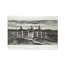 Van Gogh Windmills Rectangle Magnet