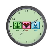 Peace Love Yoga Wall Clock