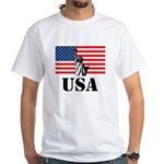 Statue of Liberty, US Flag White T-Shirt
