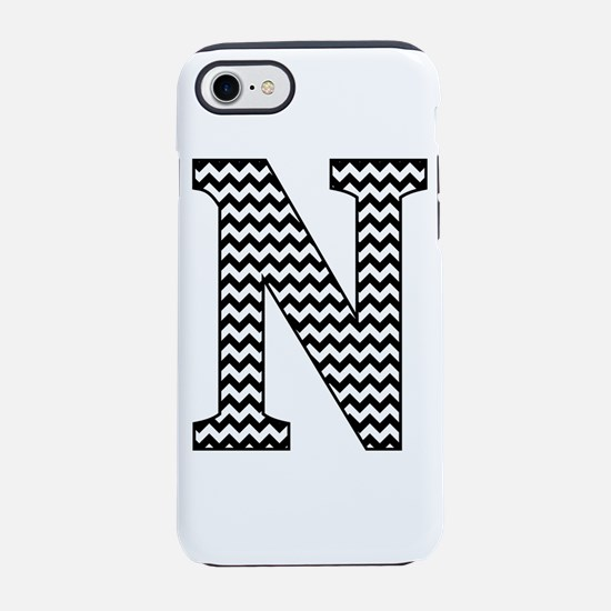 Black and White Chevron Letter N Monogram iPhone 7