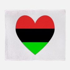 African American Flag Heart Throw Blanket