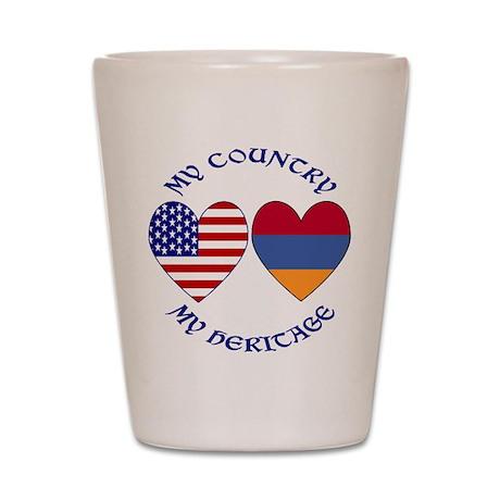 Armenia / USA Country Heritag Shot Glass