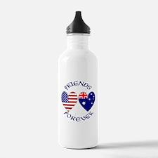 Australia USA Friends Water Bottle