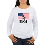Statue of Liberty, US Flag Women's Long Sleeve T-S