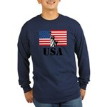 Statue of Liberty, US Flag Long Sleeve Dark T-Shir