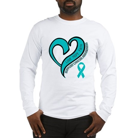 Ovarian Cancer Love Faith Long Sleeve T-Shirt