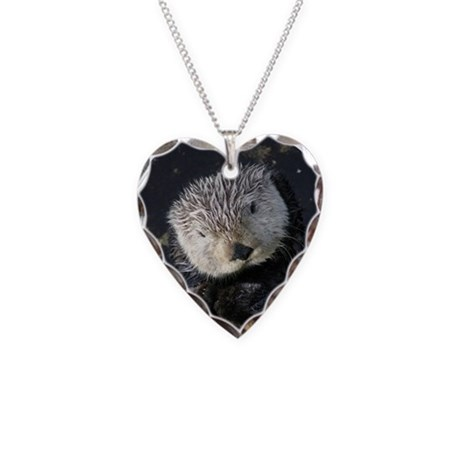 Cute Sea Otter Necklace Heart Charm