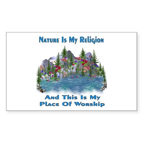 Nature Is My Religion Rectangle Sticker