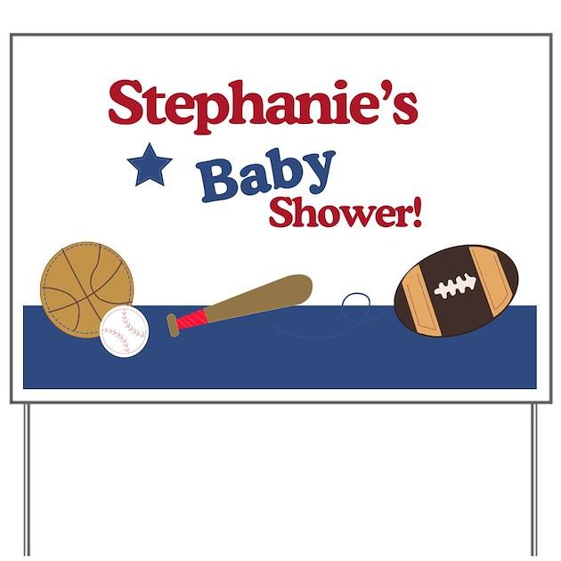 sports theme baby shower yard sign personalized by artbyjessie
