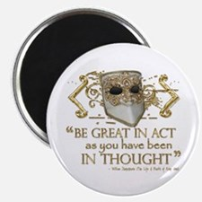 """Shakespeare Great In Thought Quote 2.25"""" Magnet (1"""
