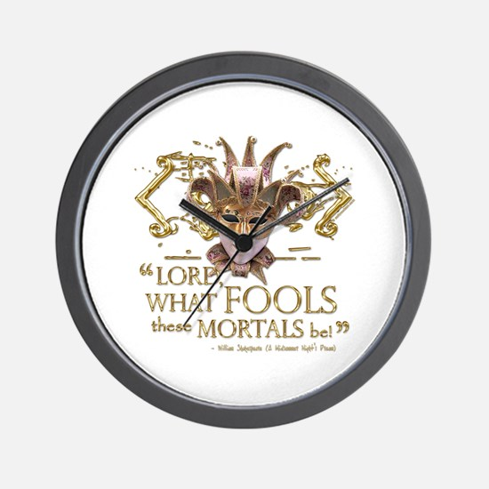 Shakespeare Fools Quote Wall Clock