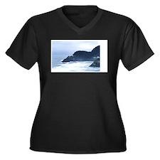 Lighthouse Oregon Women's Plus Size V-Neck Dark T-