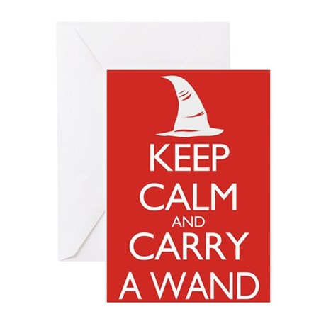 Keep Calm and Carry a Wand Greeting Cards (Pk of 1