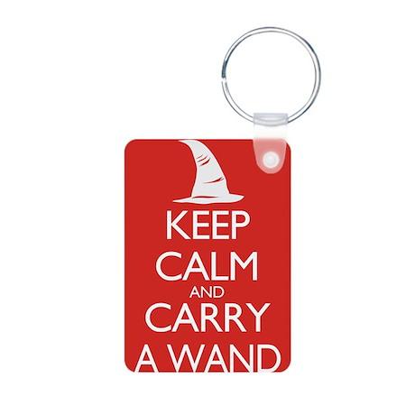 Keep Calm and Carry a Wand Aluminum Photo Keychain