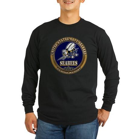 USN Navy Seabees Long Sleeve Dark T-Shirt