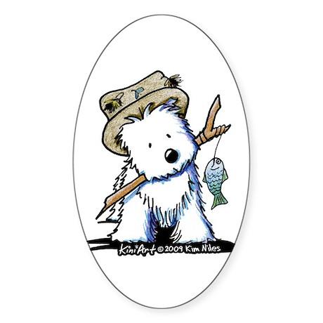 Fishing Westie Sticker (Oval 10 pk)