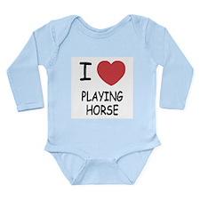 i heart playing horse Long Sleeve Infant Bodysuit