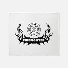 Fire Dept Firefighter Tattoos Throw Blanket