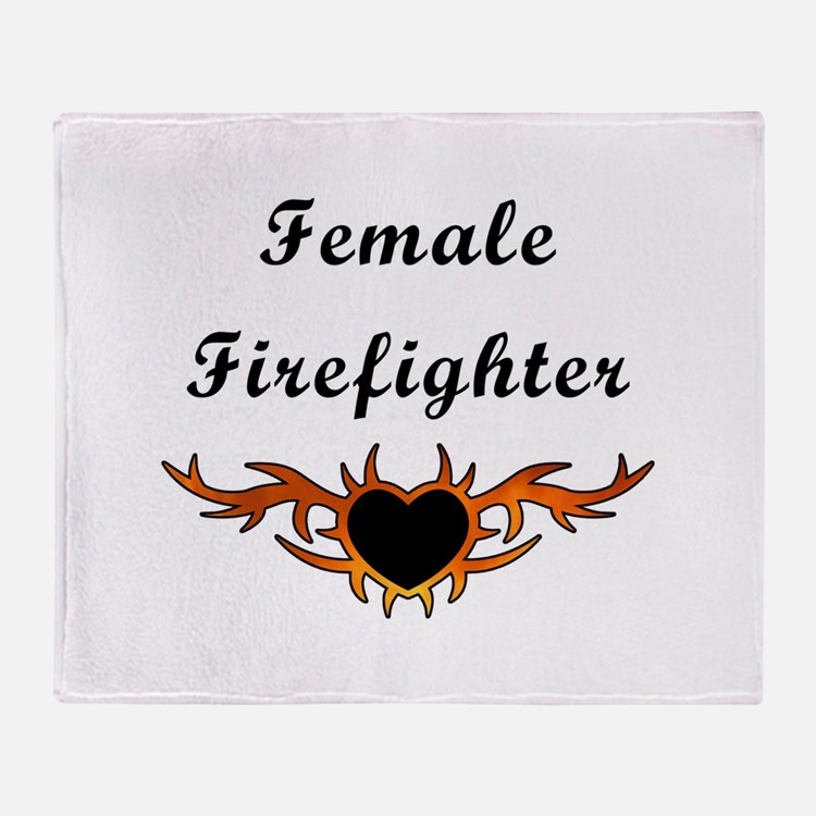 Female Firefighter Flames Throw Blanket
