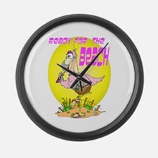 Ready for the BEACH Flamingo Large Wall Clock