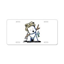 Fishing Westie Aluminum License Plate