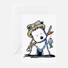 Fishing Westie Greeting Cards (Pk of 20)