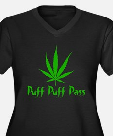 Puff Puff Pass - Leafy Women's Plus Size V-Neck Da