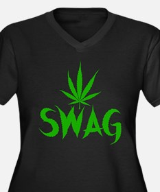 Weed Swag Women's Plus Size V-Neck Dark T-Shirt