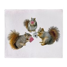 Squirrels Poker Throw Blanket