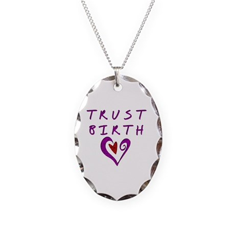Trust Birth Necklace Oval Charm