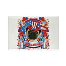 American Pride Pug Rectangle Magnet
