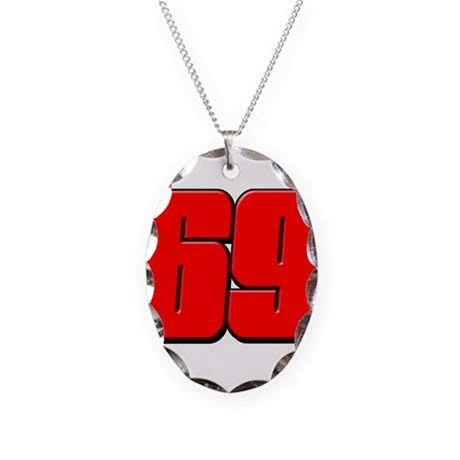 NH69Red Necklace Oval Charm