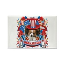 American Pride Papillon Rectangle Magnet