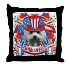American Pride Maltese Throw Pillow