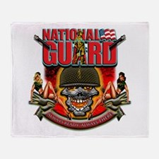 US Army National Guard Skull Throw Blanket