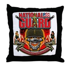US Army National Guard Skull Throw Pillow