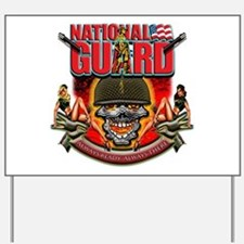 US Army National Guard Skull Yard Sign