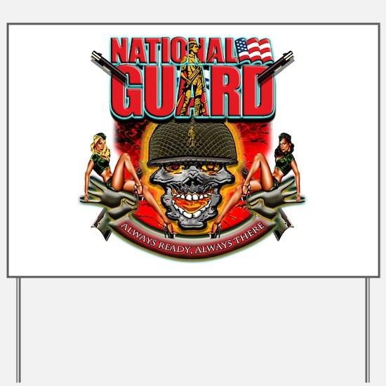 US Army National Guard Skull Yard Sign