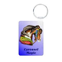 Pinto Carousel HorseAluminum Photo Keychain