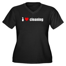 I Love Cleaning Women's Plus Size V-Neck Dark T-Sh