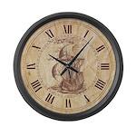 Vintage Sail Ship Large Wall Clock