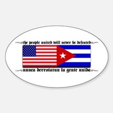 USA - Cuba Unite!! Oval Decal