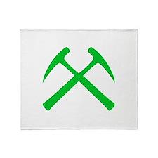 Crossed Rock Hammers (green) Throw Blanket