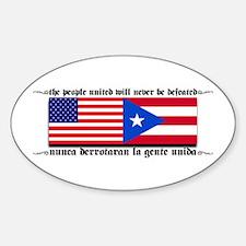 USA - Puerto Rico unite! Oval Decal