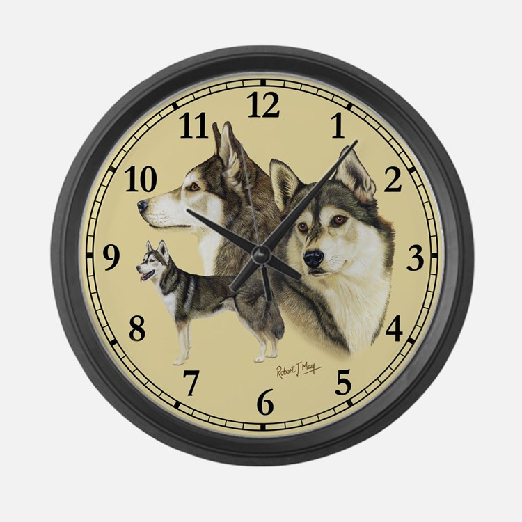 Siberian Husky Large Wall Clock