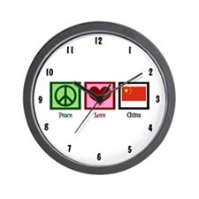 Peace Love China Wall Clock