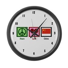 Peace Love China Large Wall Clock