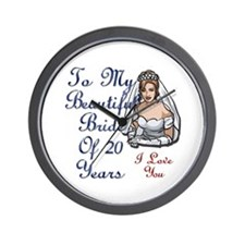 Cute 20th wedding anniversary Wall Clock